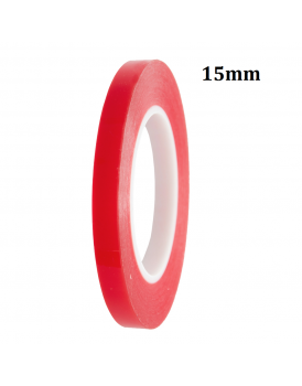 [15mm-50m] Double Sided Adhesive Tape (Red) Clear Sticker for Mobile Phone